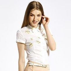 O.SA - Short-Sleeve Cuffed Embroidered Shirt