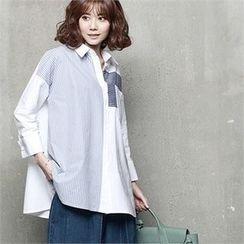 HALUMAYBE - Drop-Shoulder Striped-Trim Shirt