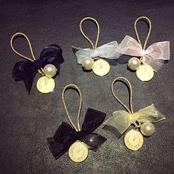 Tiea - Faux Pearl Bow Hair Tie