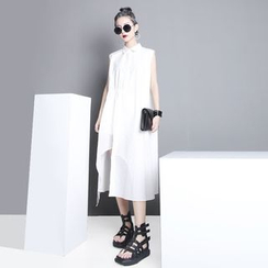 Sonne - Asymmetric-Hem Collared Sleeveless Dress