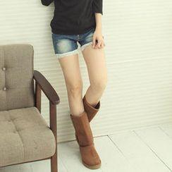 CatWorld - Lace-Trim Denim Shorts