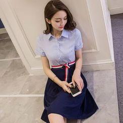 Cherry Dress - Short-Sleeve Mock Two Piece Shirt Dress