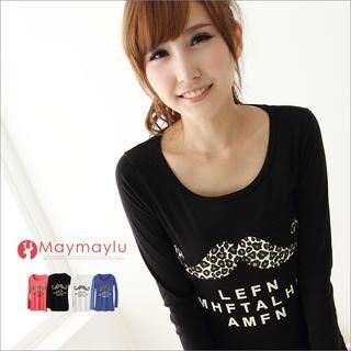 Maymaylu Dreams - Mustache-Print Long-Sleeve T-Shirt