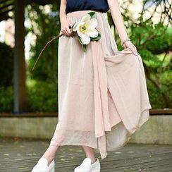 Yammi - High-waist Chiffon Maxi Skirt