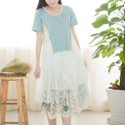 Blue Hat - Short-Sleeve Lace Panel Dress