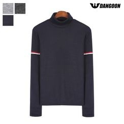 DANGOON - Turtle-Neck Contrast-Trim Top