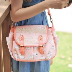SUPER LOVER - Buckled Print Flap Cross Bag