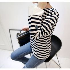 Miamasvin - Round-Neck Striped Top