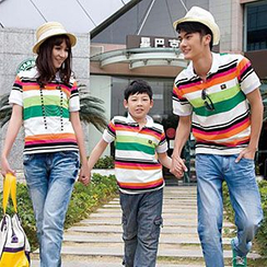 Igsoo - Family Stripe Short-Sleeve Polo