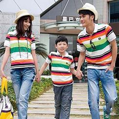 Igsoo - 親子短袖橫紋馬球衫