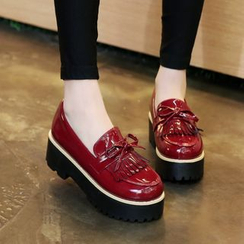 Pretty in Boots - Fringed Platform Loafers