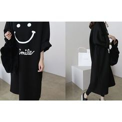 DAILY LOOK - 3/4-Sleeve Smile Print Pullover Dress