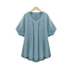 VIZZI - Short Sleeve V-Neck Blouse