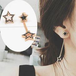 Gioia - Rhinestone Star Non-matching Earrings