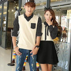 Hanee - Couple Inset Dotted Shirt Panel Dress / Inset Dotted Shirt Knit Vest