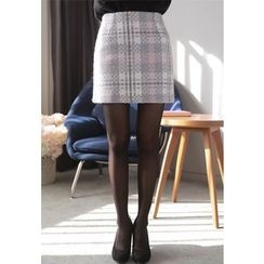 MyFiona - Plaid Wool Blend Mini Skirt