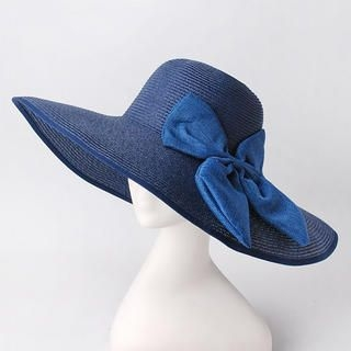 Bow-Accent Straw Sun Hat