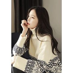 MyFiona - Turtle-Neck Drop-Shoulder Patterned Sweater