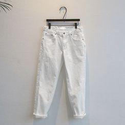 NANING9 - Cotton Blend Slim-Fit Pants