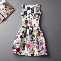 Rainbeam - Sleeveless Jacquard Printed Dress