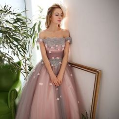Coeur Wedding - Off-Shoulder Applique Ball Gown