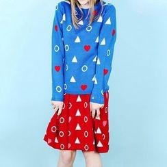 Obel - Heart Print Sweater