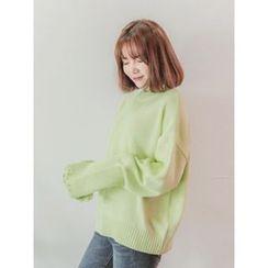 LOLOten - Long-Sleeve Distressed Sweater