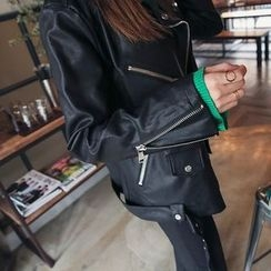 DABAGIRL - Belted Faux-Leather Biker Jacket