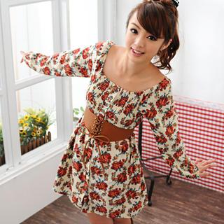 59 Seconds - Floral Print Dress (Belt not Included)