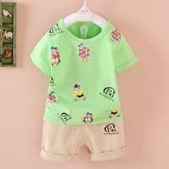 POMME - Kids Set: Print Short-Sleeve T-Shirt + Shorts