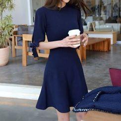 DABAGIRL - Beribboned-Sleeve A-Line Knit Dress