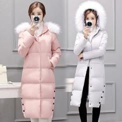 AiSun - Faux Fur Trim Padded Coatdress