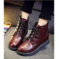 Satomi - Lace-Up Short Boots