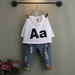 Seashells Kids - Kids Lettering T-Shirt / Kids Distressed Jeans