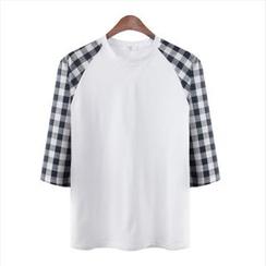 WIZIKOREA - 七分袖格子T恤