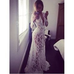 HOTCAKE - Long Sleeve Maxi Lace Dress