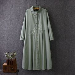 Blue Rose - Stand Collar Embroidered Shirtdress