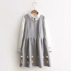 ninna nanna - 刺繡無袖針織連衣裙