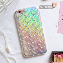 Hachi - Hologram Heart Phone Case with Neck Strap - Apple iPhone 6 / 6 Plus / 7 / 7 Plus