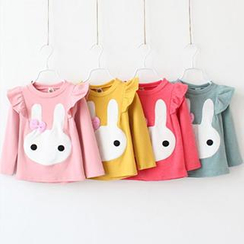 Cuckoo - Kids Rabbit Applique Ruffle T-Shirt