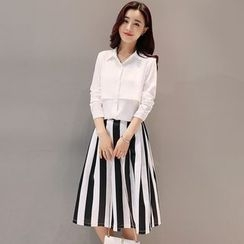 Mandalle - Set: Plain Shirt + Striped Midi Skirt