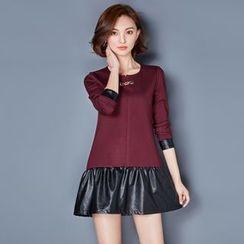 AiSun - Faux Leather Panel Long-Sleeve Dress