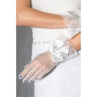 59 Seconds - Lace Panel Bow-Accent Bridal Gloves