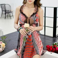 Zeta Swimwear - Halter Bow-Accent Pattern Swim Dress