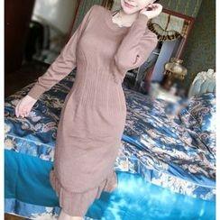 Dream Girl - Ruffle Hem Knit Dress