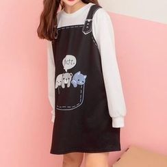 Rega - Long-Sleeve Mock Two Piece Print Dress