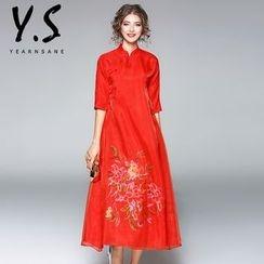 Y:Q - 绣花七分袖中长旗袍