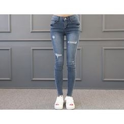 DANI LOVE - Distressed Washed Skinny Jeans