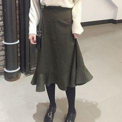 Cloud Nine - Button Detail Ruffle Hem Midi Skirt