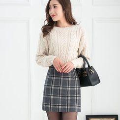 潞依韩 - 格纹铅笔裙